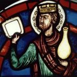 Un Tambourin porté par un un Ancien, Rose Orientale de l'Apocalypse (env. 1215/1220)