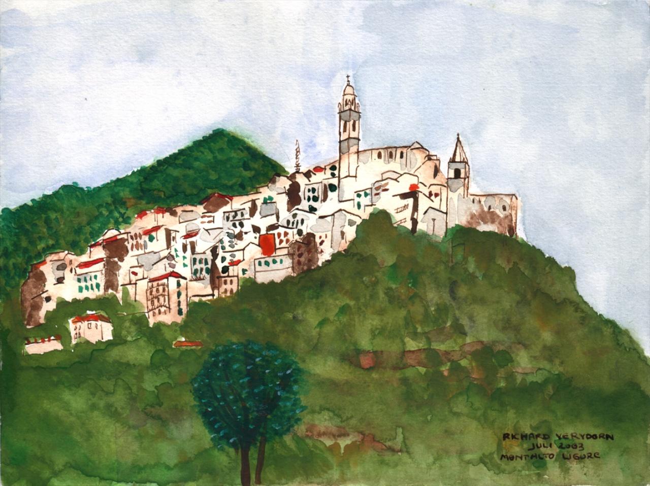 683Drie aquarellen, Montalto-Ligure