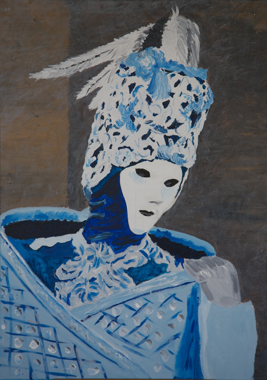 Venetiaans Carnaval (2008) acryl op linnen, 50 x 70 schilderij van Richard Vervoorn