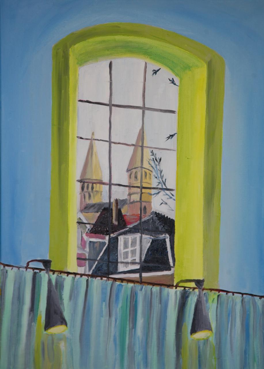 Vanaf de kansel in de Waalse Kerk in Maastricht (2011) Olieverf op linnen, 50 x 70, schilderij van Richard Vervoorn