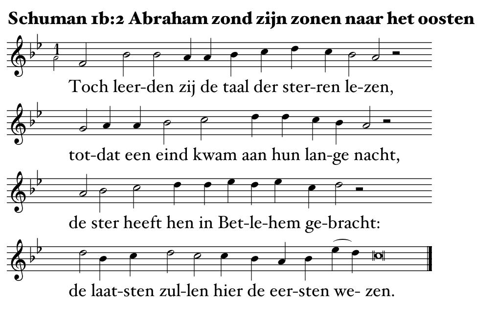 Abraham zond zijn zonen naar het oosten, 2e strofe, melodie Jan Pasveer