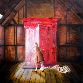 Lucy en de kleerkast (2006) olieverf op linnen, 70 x— 70 schilderij van Richard Vervoorn