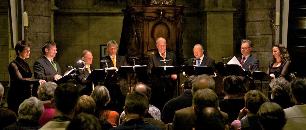 Het Gesualdo Consort Amsterdam zong psalmen van Sweelinck in de Sint Janskerk in Maastricht op 23 oktober 2010. (foto Richard Vervoorn)