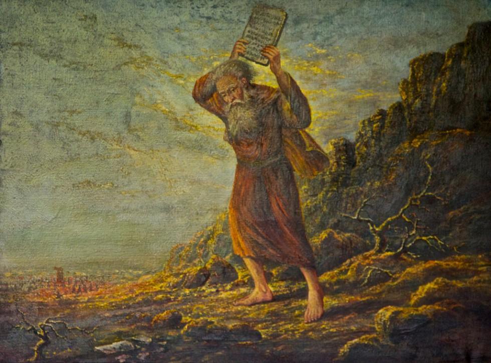Mozes (Exodus 32) geschilderd door Jacobus Cornelis van Wassenaar (26 feb1920-21 maart 1996) in 1970