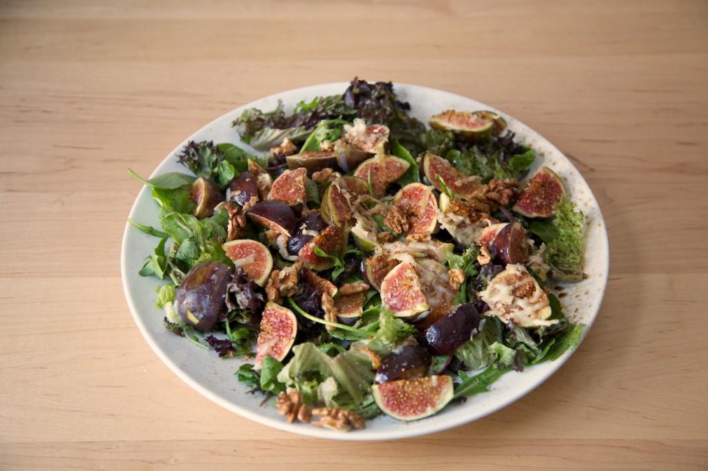 Salade met verse vijgen uit de oven