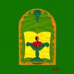 Ziekenzalving schilderij van Petra Apperlo gemaakt voor de Keynote presentatie bij de preek over Jakobus 5